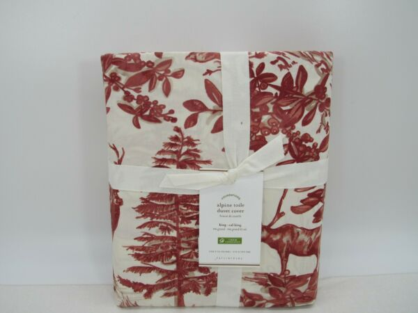 New Pottery Barn Alpine Toile King Duvet Cover Winter Deer Holiday $102.95