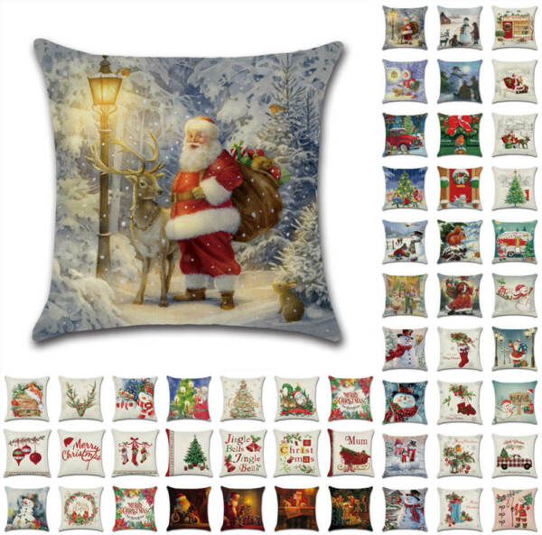 18quot; US Christmas Santa Retro Cushion Covers Xmas Pillow Cases Sofa Home Decor