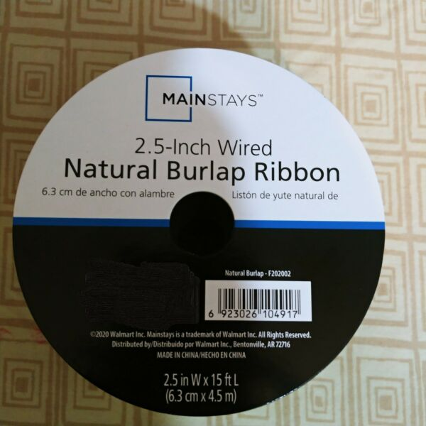 MAINSTAYS Natural Burlap Ribbon 2.5 in. Wired x 15 ft.