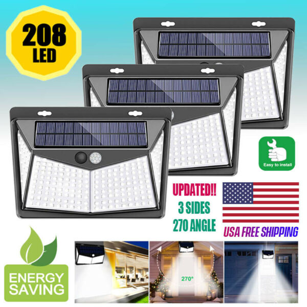 208 LED Solar Power Light PIR Motion Sensor Outdoor Lamp Wall Waterproof Garden $9.99