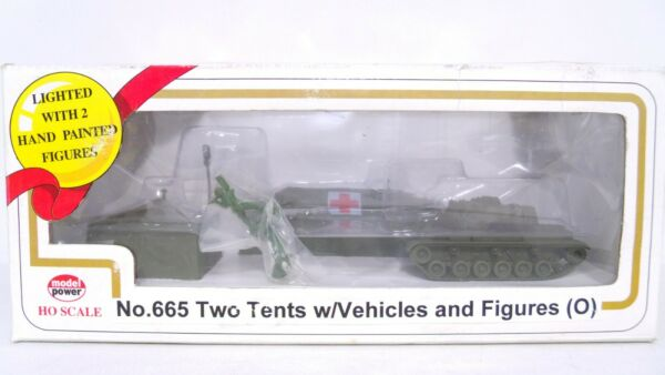Model Power HO Military Tents w Vehicles Figures Lighted Built Up Building 665