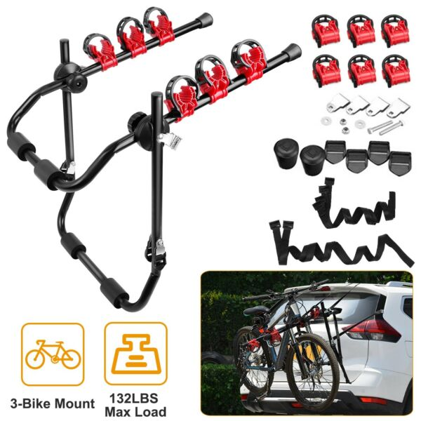 3 Bicycle Trunk Mount Bike Carrier Rack Hatchback Portable for SUV amp; Car Sport $49.99
