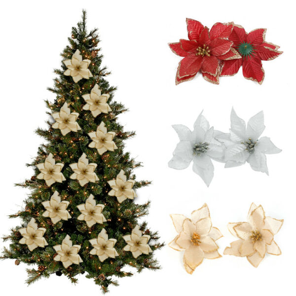 20x Glitter Artificial Poinsettia Flowers Christmas Tree Ornaments Home Decors $6.74