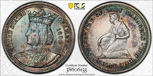 1893 Isabella Commemorative 25C Silver Quarter PCGS MS 62 Toned