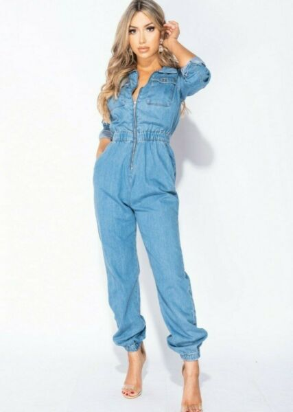 Women Long Sleeve Denim Jeans Utility Jumpsuit Loose Boiler Suit Romper Playsuit $44.20