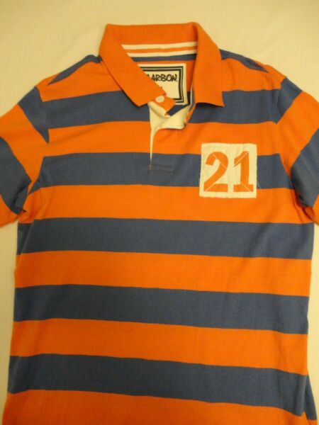 CARBON Men Polo T shirt New with Tags Size M Cotton Stripes India $6.99