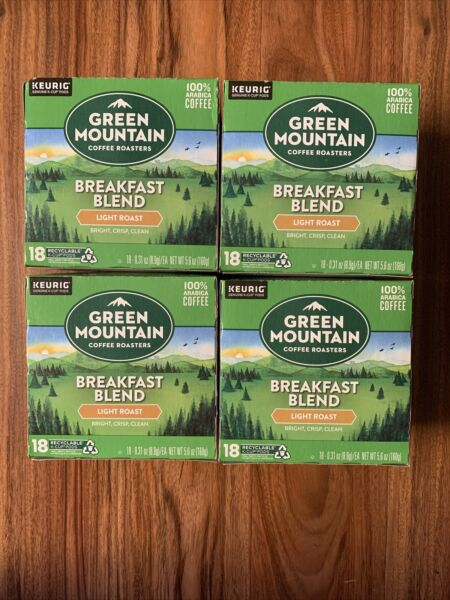 Keurig Green Mountain Breakfast Blend Light Roast 72 K Cup 18 Pods x 4 Boxes