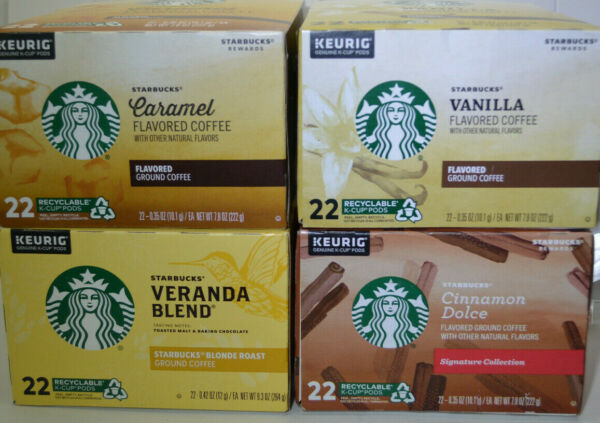 Starbucks 22 KEURIG Flavored Coffees K CUP Pods Collection. Various flavors