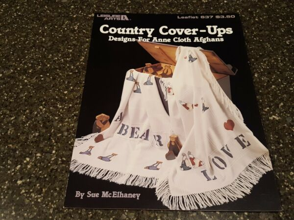 Country Cover Ups For Anne Cloth Afghans Leisure Arts Cross Stitch Pattern 637 $5.49