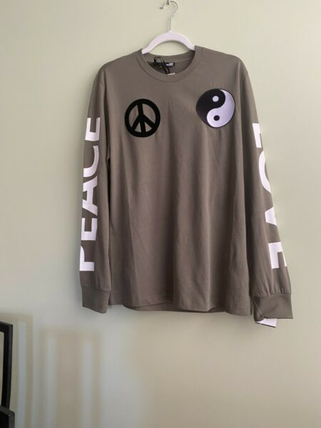 NWT Love Moschino Men#x27;s Cotton T Shirt Khaki Embroidered Long Sleeve Size L $91.00