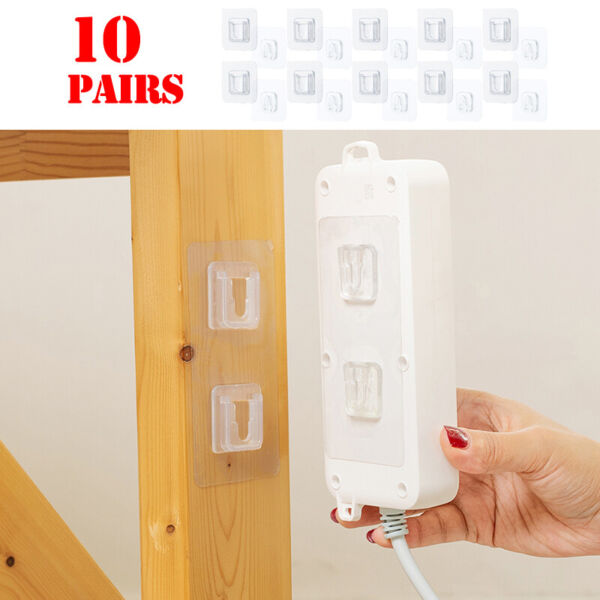 10Pairs Double Sided Adhesive Wall Hooks Hangers Suction Holder Hook Home Hooks