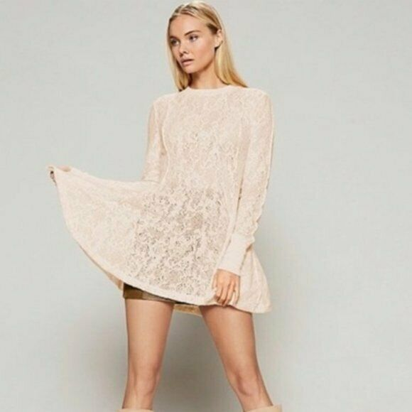 NEW Free People Coffee in the Morning Tunic Top Cream size S Lace Sheer BP