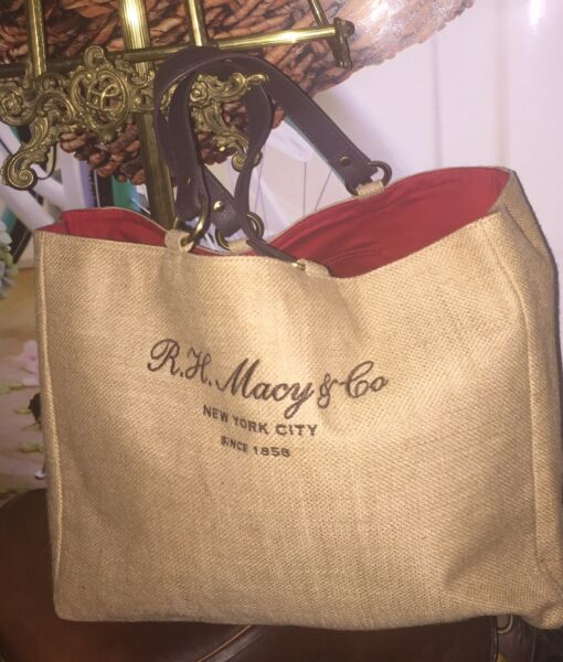RH Macy And Company Burlap Tote Lined Shopping Carry Bag Shoulder Purse Large