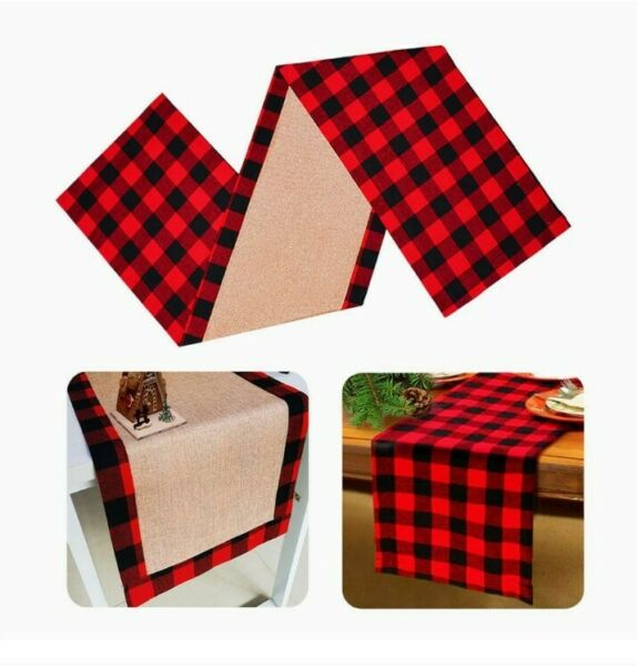 Large Cotton Burlap Buffalo Checkered Christmas Reversible Table Runner Red Blk