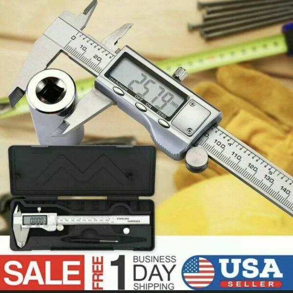Stainless Steel Digital Caliper Micrometer Electronic Ruler Gauge Meter 6 quot;inch $18.95
