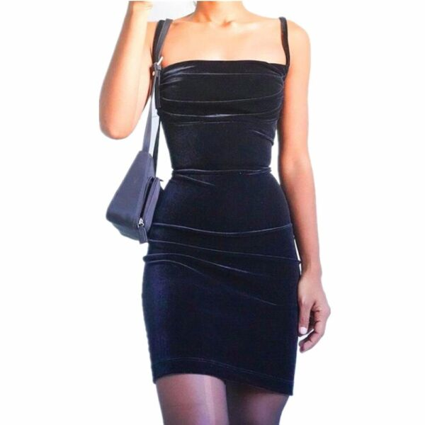 Women Slip Dress Sexy Elegant Velvet Camisole Sleeveless Slim Black Mini Dresses