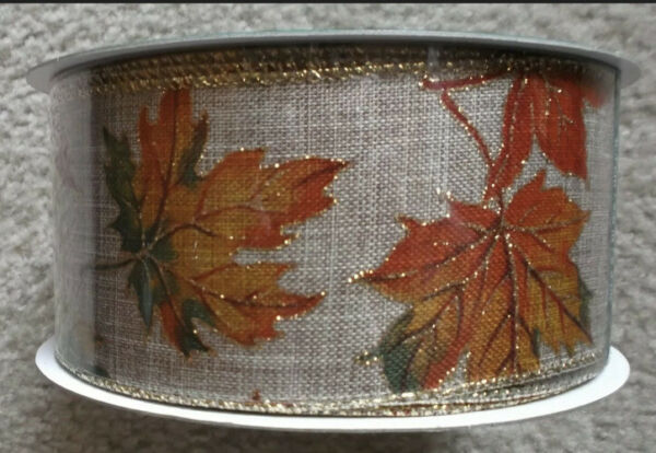 """Autumn Leaves Wired Burlap Ribbon with Glitter Edges 2.5"""" X 5 Yards Kirkland"""