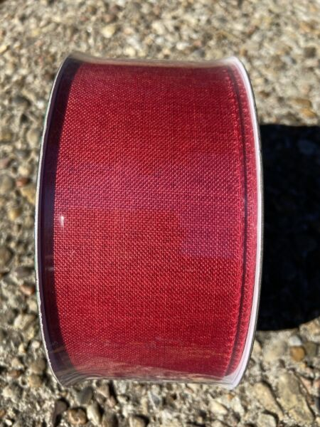 Red Burlap Ribbon w Red Wired Edges 2.5quot; x 50 Yards Members Mark.  Free Shipping