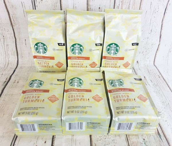 6X Starbucks Coffee Golden Turmeric Medium Roast Ground 9oz each BBD AUG 2020