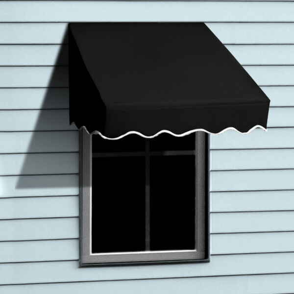 ALEKO Window Awning Door Canopy Decorator 4x2ft Sun Rain Shade Shelter Black