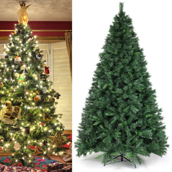 8Ft Artificial PVC Christmas Tree W Stand Holiday Season Home Outdoor Green
