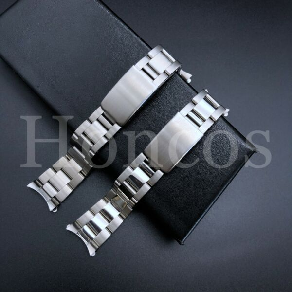 Curved Solid Links Oyster Replacement Bracelet Watch Band Strap 19 20 21 MM