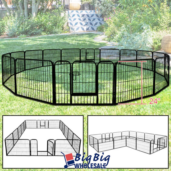 24 Inch 16 Panels Cat Dog Playpen Large Crate Fence Pet Kennel Exercise Cage