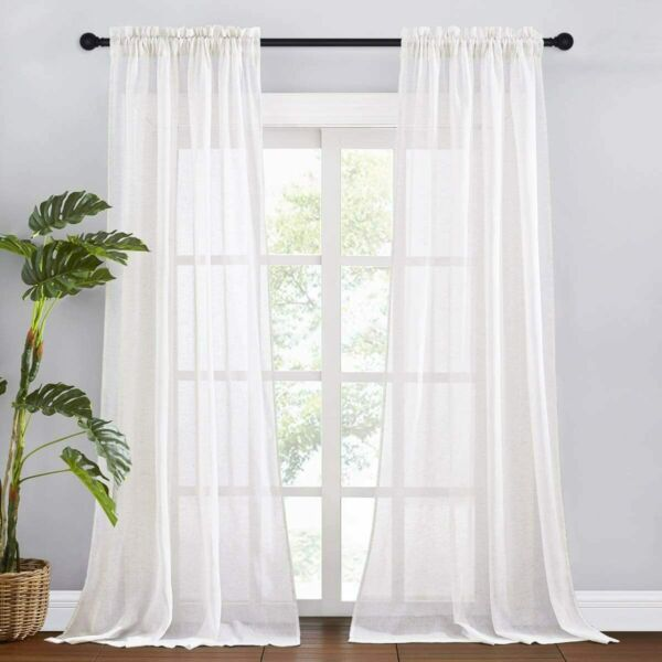 RYB HOME White Sheer Curtains Natural Linen Blend Burlap Curtains Extra Long Sof
