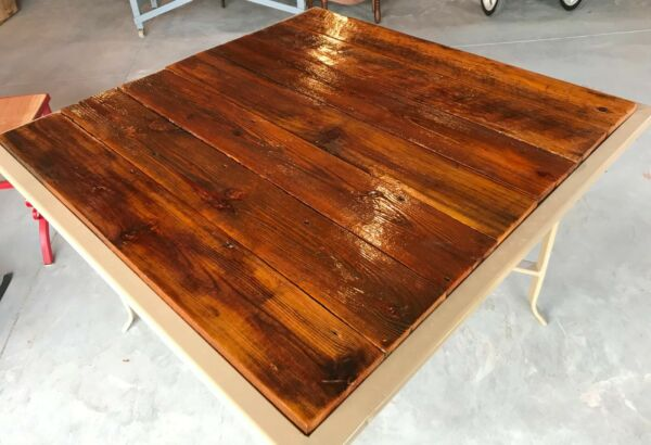 Repurposed Patio Square Table Outdoor Furniture Garden Reclaimed Wood Vintage $119.99