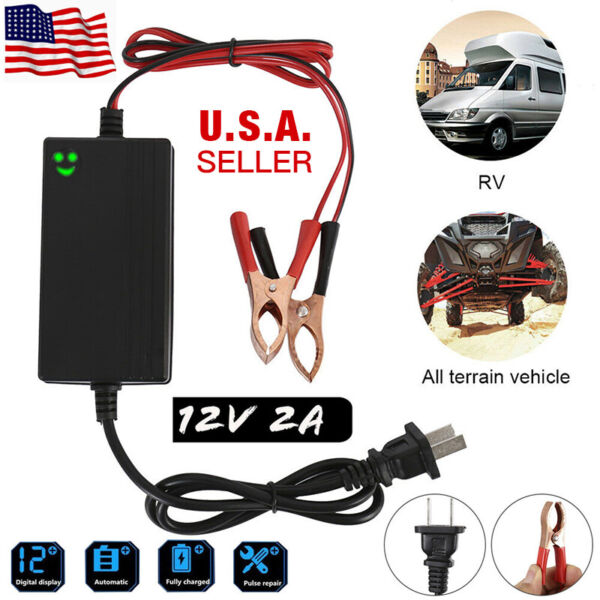 Portable 12V Auto Car Battery Charger Tender Trickle Maintainer Boat Motorcycle $9.88