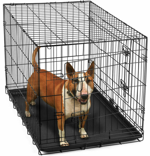 36quot; Dog Crate 2 Kennel House for Animal Door w Divide w Tray Fold Metal Pet Cage $15.99