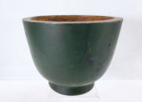 Early Antique Treenware Primitive Hand Turned Vase Bowl In Original Green Paint
