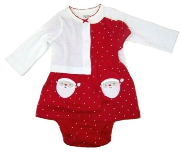 Carter#x27;s Just1 You Baby Girls 2 Pc Christmas Dress amp; Cardigan Set NWT 3M or 12M