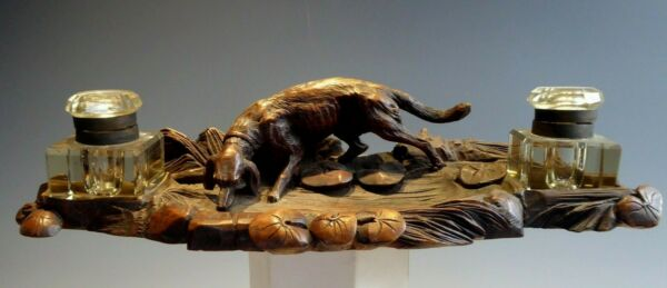 BLACK FOREST HUNTING DOG DOUBLE INKWELL