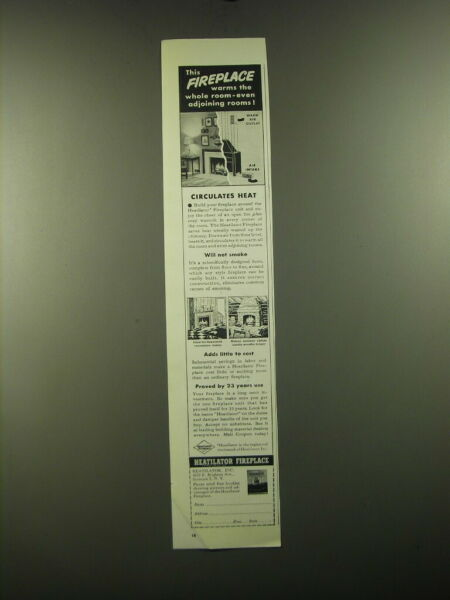 1950 Heatilator Fireplace Unit Ad This fireplace warms the whole room