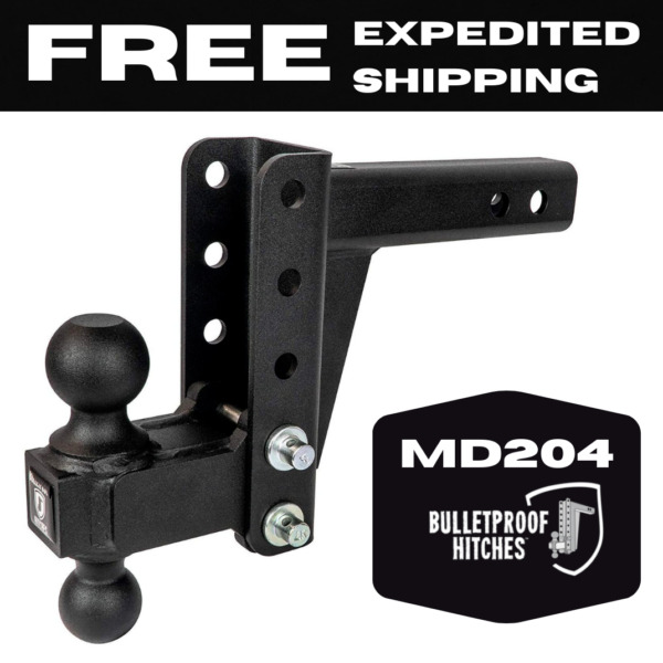BulletProof Hitches 2quot; Adjustable Medium Duty 4quot; Drop or Rise Trailer Hitch $199.00