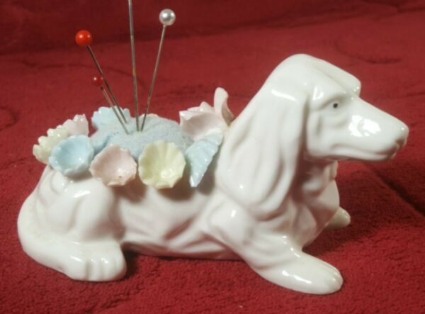 Vintage Dachsund Dog Sewing Pin Cushion Majolica Flowers Pearl Accents Lovely $7.00