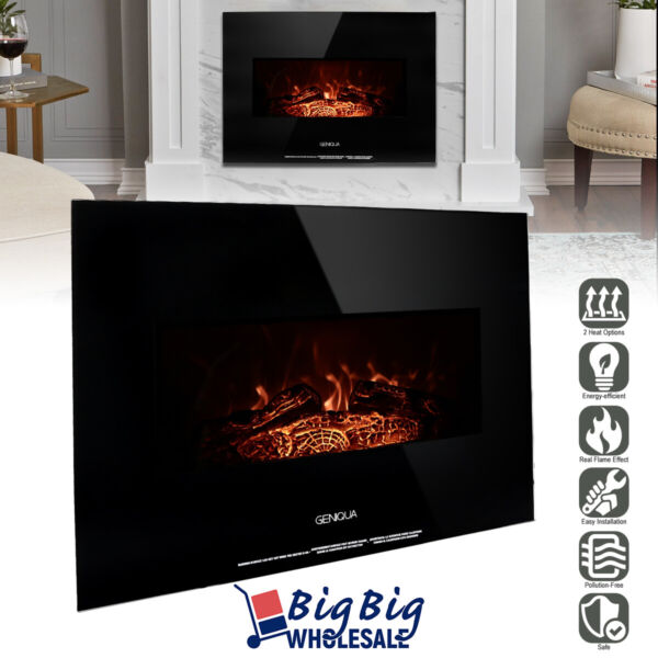 1400W 26quot; Wall Mount Electric Fireplace Heater Adjustable 3D LED Flame Log