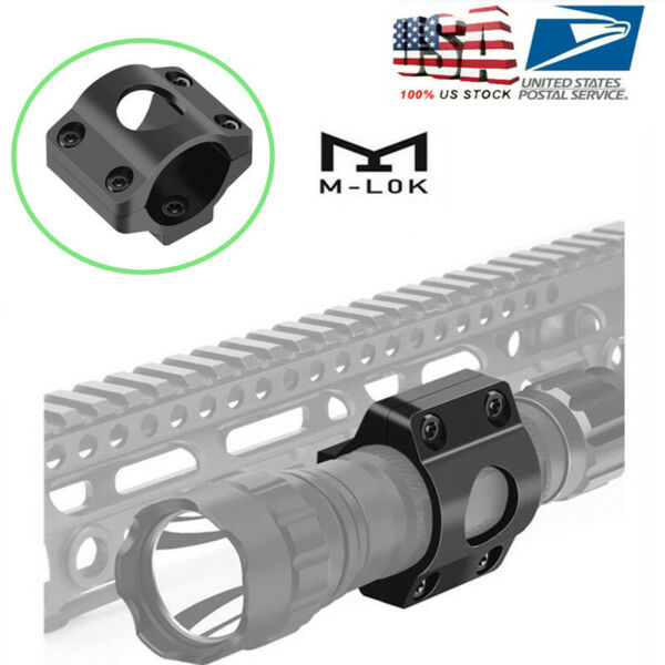 Offset Light Mount 1quot; Ring Mount for Tactical Flashlight Scope For MLOK Rail