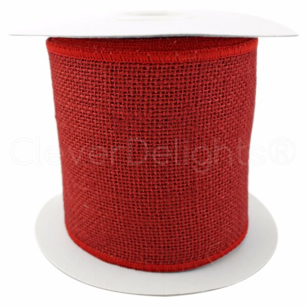 4quot; Red Burlap Ribbon 10 Yards Wired Finished Edges Super Fine Weave