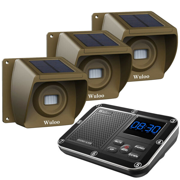 Wuloo 1 3 Mile Solar Wireless Driveway Alarm Long Range Waterproof Motion Sensor $151.96