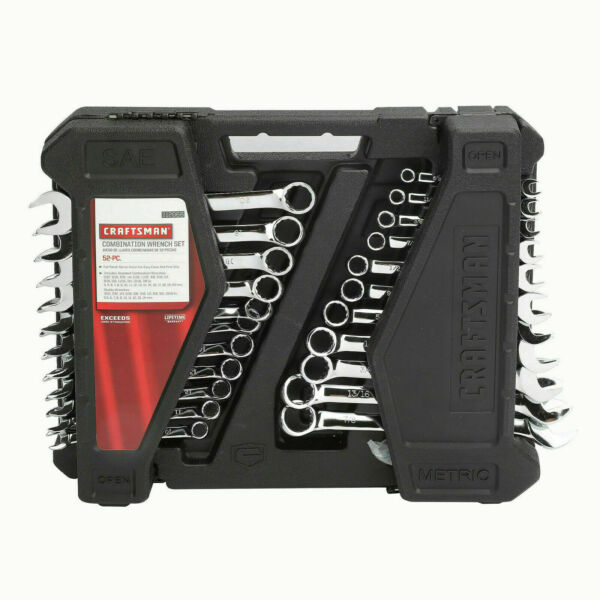 CRAFTSMAN 52 PIECE SAE METRIC COMBINATION WRENCH SET