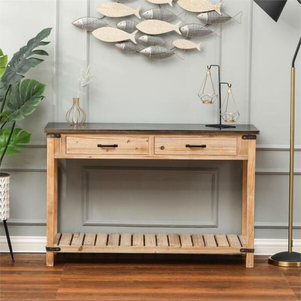 Wood Two Drawer Console Table