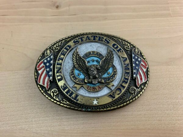 United States of America USA 1986 Brass Colored Eagle Vintage Belt Buckle