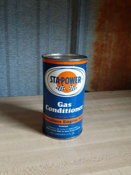Vintage STA POWER gas conditioner metal can empty Oil $5.99
