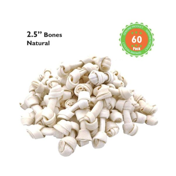 MON2SUN Dog Rawhide Knot Bones 2.5 Inch for Puppy and Small Dogs Natural Flavor $20.99