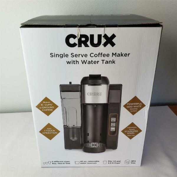 = Crux Single Serve Coffee Maker With Water Tank 1200W K Cups Or Ground $39.99