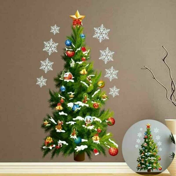Removable Christmas Tree Wall Sticker Window Decals Room Home Office Xmas Decor