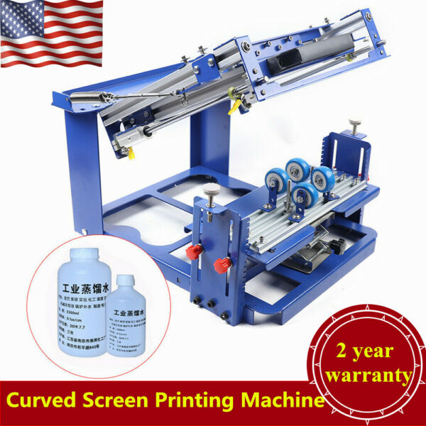 Manual Cylinder Curved Screen Printing Machine Bottle Cup Surface Screen Printer