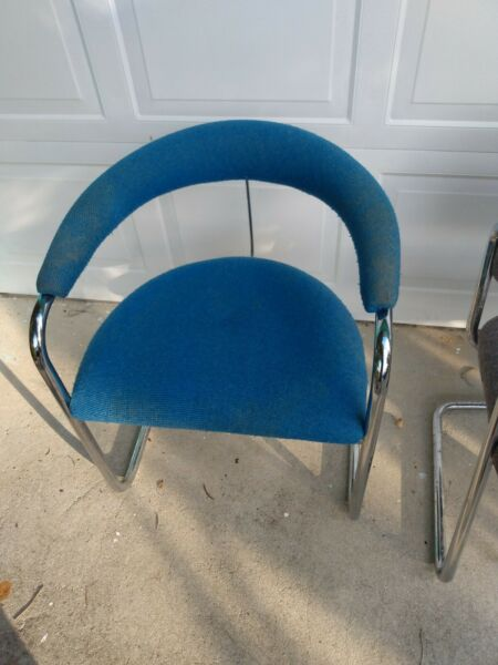 Vintage Thonet Chrome and Blue Chair $200.00